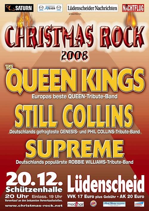 Lüdenscheid: ´NACHTFLUG Christmas-Rock´ mit dem stärksten Line-Up aller Zeiten! Heiße Ohren bei Premium-Tribute mit The Queen Kings, Still Collins und Supreme