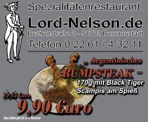 Oberbergischer Kreis (Bergneustadt): TOP Aktionen für den Gaumen im Monat Oktober und November im Spezialitätenrestaurant Lord Nelson und Unterdeck (Raucherdeck)