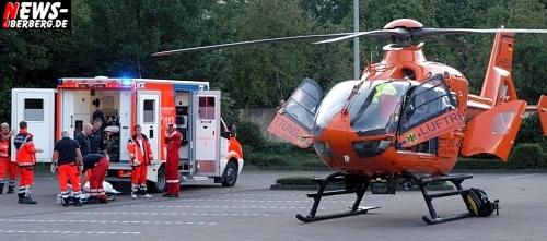 (Aktualisiertes Datum!) Helikoptereinsatz der Luftrettung in Engelskirchen (Oberbergischer Kreis). Eurocopter transportierte schwerverletzten jungen Mann nach Suizidversuch ab