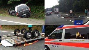 Unfall A4 Reichshof/Bergneustadt/Eckenhagen : Anhänger legte sich kopfüber, quer über die Autobahn