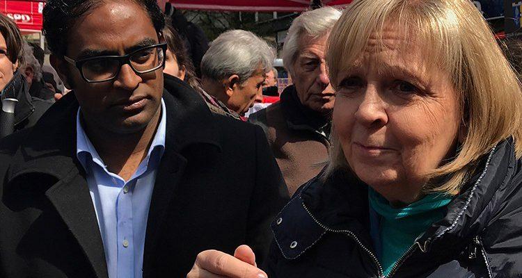 Gummersbach: NRW Ministerpräsidentin Hannelore Kraft war zu Gast am Lindenplatz! Unterstützt von den SPD Landtagskandidaten Aswin Parkunantharan und Regina Billstein | Mit Video!