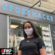 Sport Hacke Gummersbach bedruckt Mund- und Nasenmaske aus Stoff mit eigenem Logo! Stilvoll, funktional, waschbar, atmungsaktiv und wiederverwendbar!