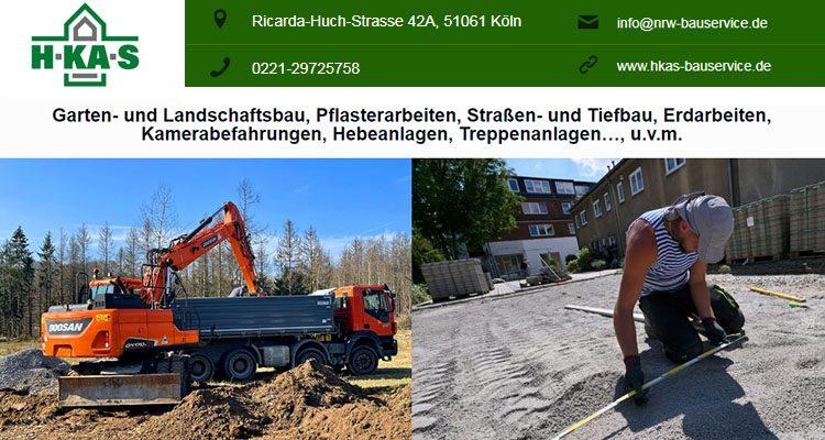 (Stellenanzeige) H-KA-S sucht in Köln ab sofort: Garten-Landschafts Geselle+ Straßenbau Geselle